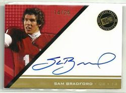 #14/25 SAM BRADFORD 2010 ROOKIE PRESS PASS AUTO GOLD RC JRSY#