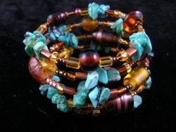 09-00147 Turquoise Nugget Memory Wire Bracelet
