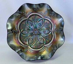 Victorian large 8 ruffled bowl, purple, gunmetal iridescence