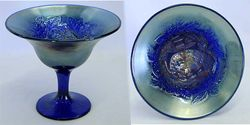 Peacock and Urn compote, blue