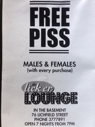 Free Piss at Lick er Lounge (Christchurch