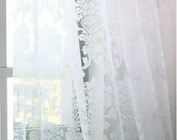 Damask White Embroidered Rod Pocket 96 inch Sheer Curtains