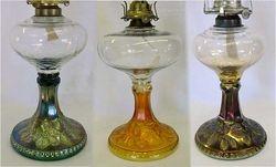 Wild Rose kerosene lamps in green, marigold and amethyst