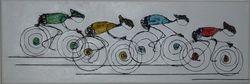 wandobject wielrenners in kleur 2