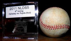 2011 NLDS Game 5 Roy Halladay Pitch To Albert Pujols Phillies Cardinals Game Used Baseball