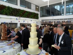 Staff served chocolate fountain hire at large corporate event.