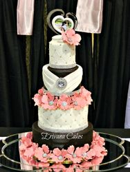 Black, Pink and white wedding cake
