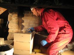 Fireplace repairs in the clubhouse