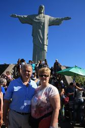 Lynda and Randy at Christ The Redeemer - Corcovado, Rio