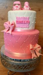 Pink and white baby shower