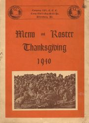 Thanksgiving Menu & Roster 1940