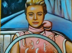 """Grace Kelly"", ""To Catch a Thief"",""Actress"", acrylic on canvas, by Fin Collins, part of The Film Icons Collection www.filmiconsgallery.com"