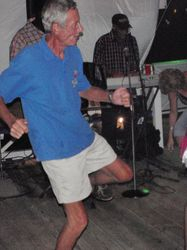 Roy boogying at one of the (many) regatta parties!