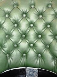 Deep Buttoned green leather