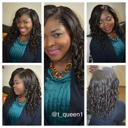 curved part tree braids using xpression hair...she was the one that brought the idea to us of making her tree braids looks more like weave