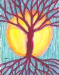 Roots and Branches Rain For Life Mandala, Oil Pastel, 11x14, Original Sold