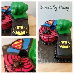 Superhero carved number cake