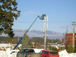 the new cell tower going up next to Tim Horton's