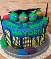 TMNT Lego themed cake