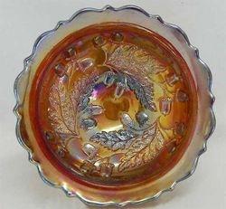 "Acorn 7"" deep round bowl, red"