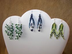 Beaded Branch Fringe Earrings,  Beaded Loops with lapis chips and 4mm beads, Beaded Brickstitch Arrows