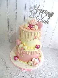 21st Birthday pink and white drip cake