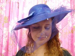 Vintage Blue Wide Brim with Pearls & Netting Wide Bow