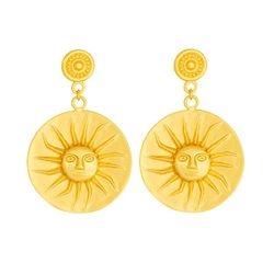 Aretes de colgar de sol - Precolumbian sun dangling earrings