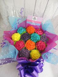A very colourful 12 cupcake bouquet
