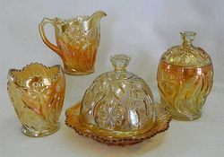 Field Thistle 4pc. table set, marigold, US Glass