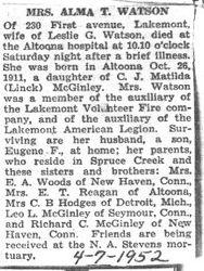 Watson, Alma McGinley 1952