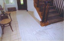 Drop cloths in walking areas