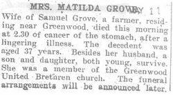 Grove, Matilda - Part 1 - 1908