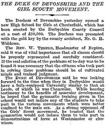 Times - Duke of Devonshire re Girl Scouts 1911