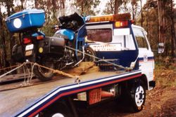 Tom's K75RT being recovered after getting a flat tyre at the Mt Ben Lomond Natioal Park after the 1996 AGM Hobart - Mar 1996