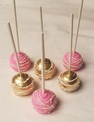 Pink & Gold Cake Pops with white swirles and sprinkles