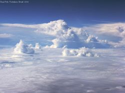 Cloud tops seen from a commercial jet airplane