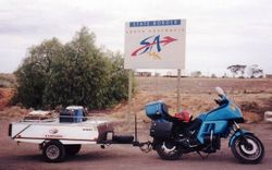 Tom's K75RT & Camper Trailer at the NSW/SA Border on the way to the 1998 AGM Bunbury - Mar 1998