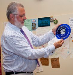 Admiring his Bristol Blue plate