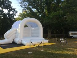 White wedding castle with slide at Down Hall Hotel and Spa