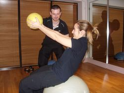 Crunches on Stability Ball with Medicine Ball