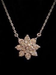 Flower diamond pendant in 14k, 1.00ct tdw