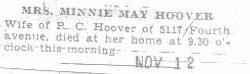 Hoover, Minnie Trout - Part 1 - 1931