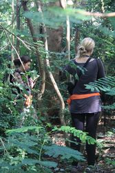 Lucía Jorge Sales and Fany Brotcorne collecting data in a forested area of Uluwatu (Bali, May 2016)