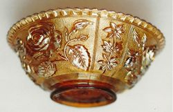 Open Rose bowl, in amber
