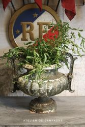 SOLD #19/198 Cast Iron Urn with Handles SOLD