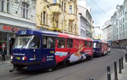 Tatra T3s advertising Brussels Airlines, in Vodickova Street