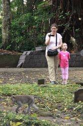 Noelle Gunst, Maya, and a monkey (Ubud Monkey Forest, Bali, May 2017)