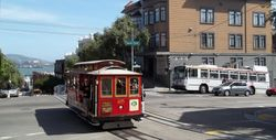 Cable Car #25 on the Hyde Street / North Point Street Crossroads.