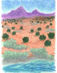 The Land In Between, Oil Pastel, 11x14, Original Sold